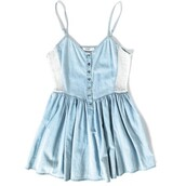 blue dress,mini dress,denim dress,dress,blue,denim,white,buttondown,straps,baby blue,babydoll dress,light blue,cute dress,cute,romper