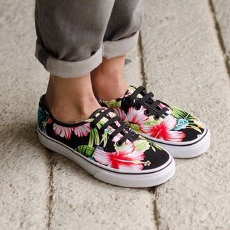 shoes vans floral hawaiian print aloha lace up summer beach sneakers flowers