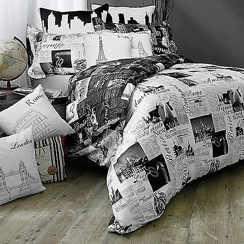 Passport Reversible Duvet Cover Set - BedBathandBeyond.com