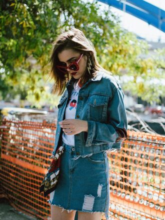 skirt blue skirt tumblr mini skirt denim denim skirt ripped jacket denim jacket sunglasses red sunglasses