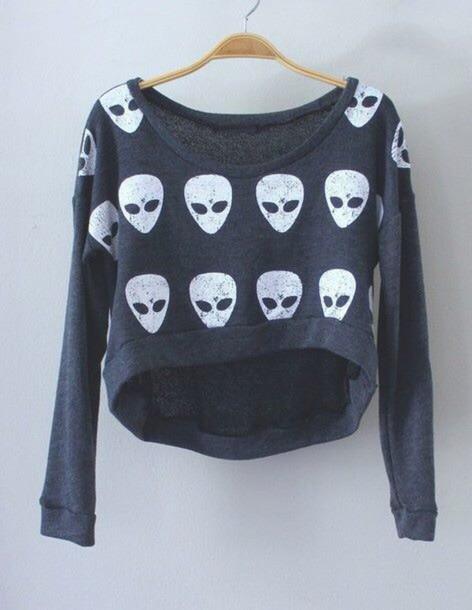 sweater alien grunge soft grunge sweater alien
