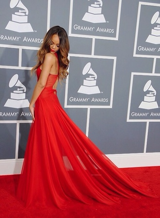 dress rihanna longdress reddress red dress rihanna red dress sexy prom dresses