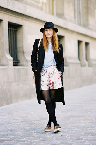 vanessa jackman blogger hat flowered shorts winter coat vans winter outfits bermuda