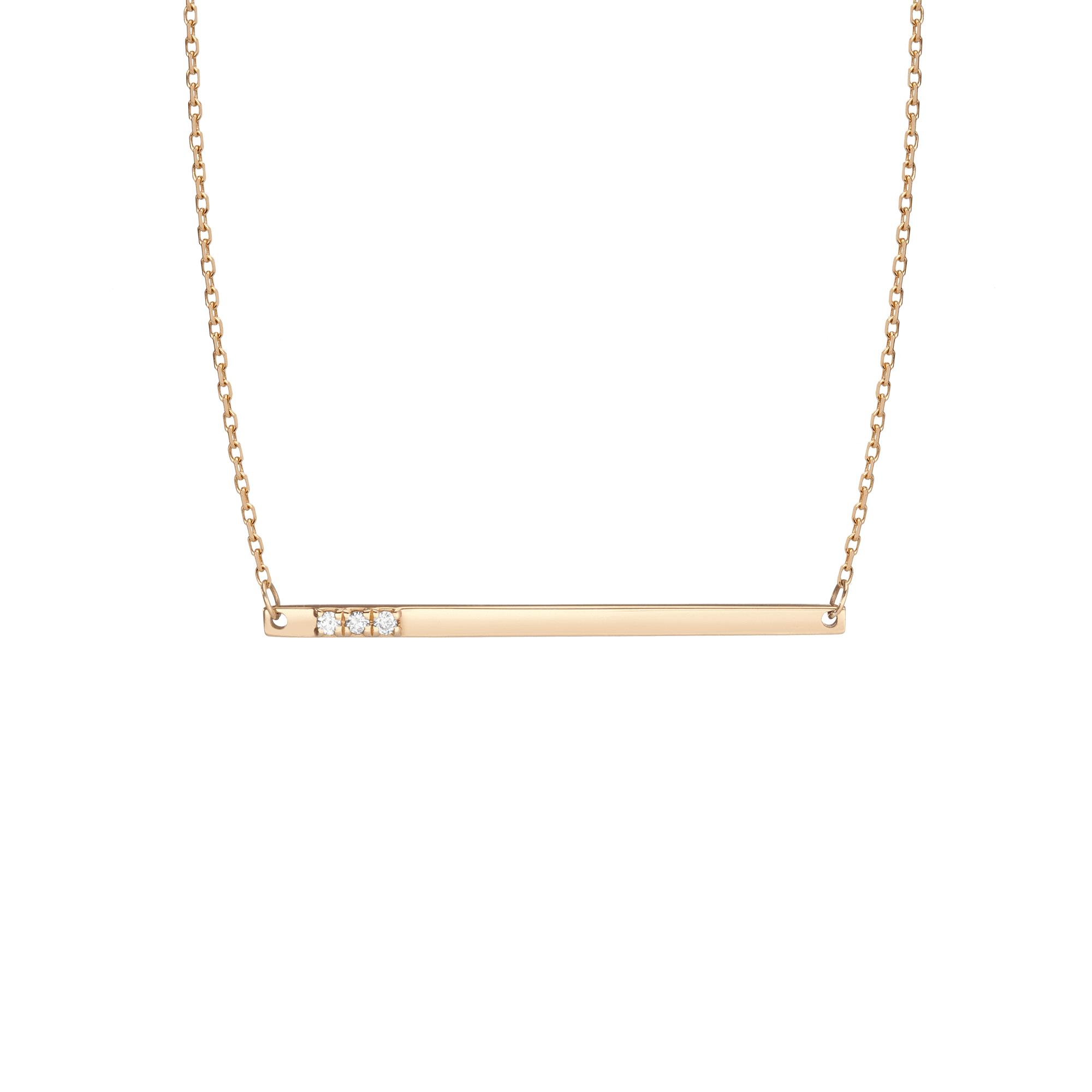 Gold Bar Necklace With Diamonds in Yellow, Rose or White Gold