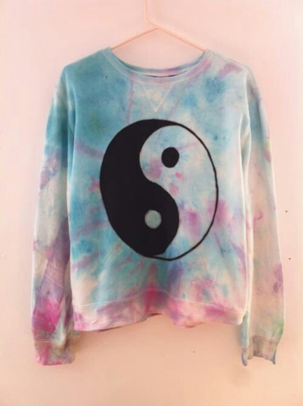 purple dye pink white blue colorful sweater black ying yang vintage yingyang