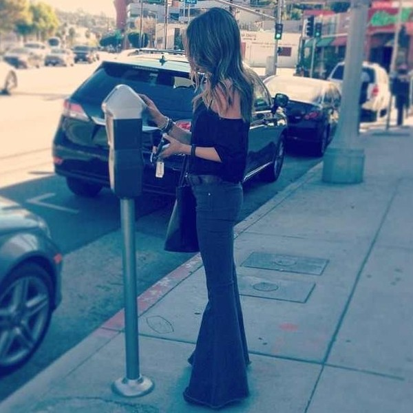 pants bell bottom jeans jeans wide leg wide leg jeans wide-leg pants daniella monet bag