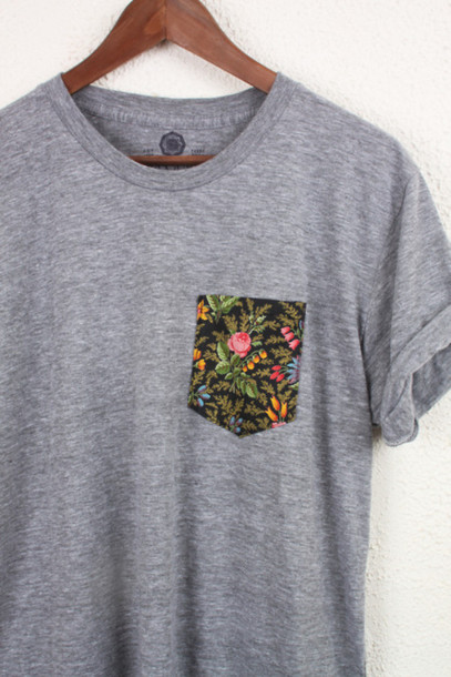 t-shirt grey floral shirt top t-shirt blouse grey floral pocket