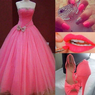 pink dress pink high heels pink prom dress pink iphone case pink pink lipstick pink nails bows long dress