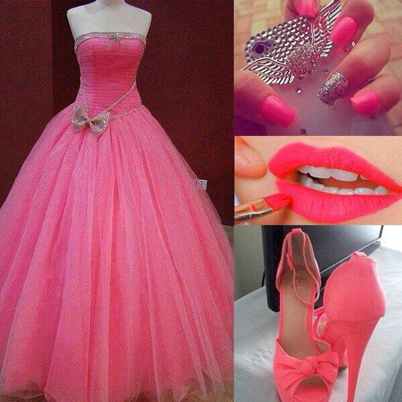 pink pink dress long dress pink high heels pink prom dress pink iphone cases pink lipstick pink nails bows