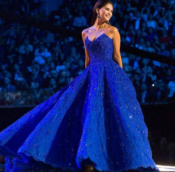 dress, miss universe, gown, princess dress, blue, blue dress, blue ...