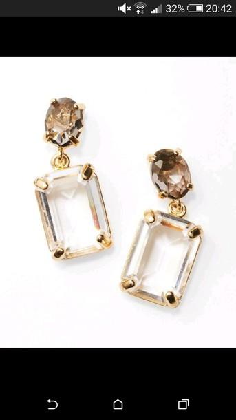 jewels gold earrings white stone beautiful earrings shining jewels