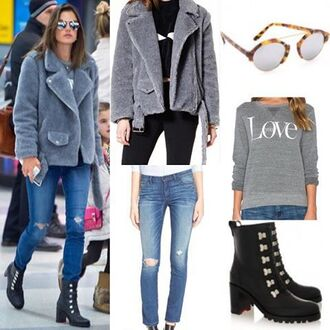 coat storets winter outfits winter coat faux fur faux fur coat celebrity alessandra ambrosio