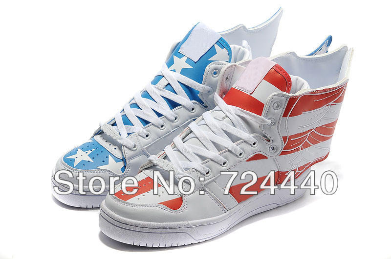 Hot Sale Men   Women Casual shoes Jeremy Scott Wings 2.0 American Flag  Shoes Red Blue ... 3f608d00e5