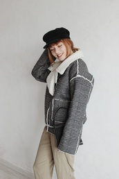 kristina magdalina,blogger,jacket,pants,bag,fisherman cap,winter jacket,winter outfits