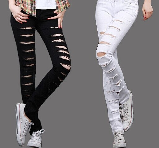 2014 hot fashion ladies/female cotton denim ripped punk cut out women sexy skinny pants jeans leggings trousers black / white