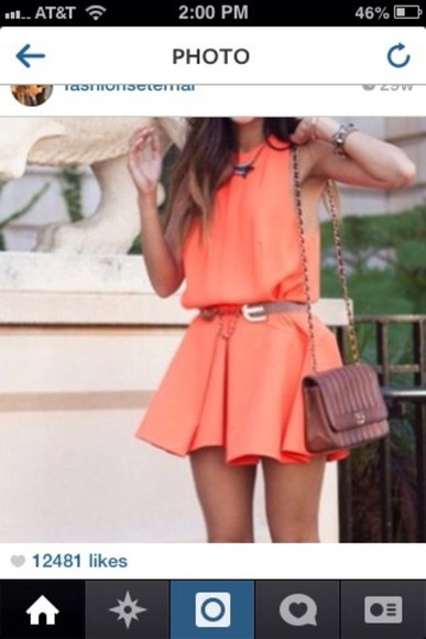 dress orange dress short dress layered cute fun spring summer