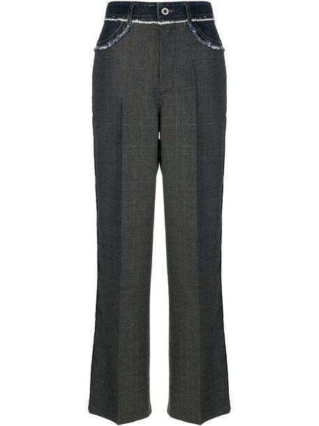 Diesel Black Gold - wide leg trousers - women - Cotton/Leather/Virgin Wool - 25, Grey, Cotton/Leather/Virgin Wool