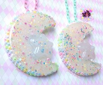 jewels neonpastelgal etsy shop pop kei moon pastel fairy kei lolita kawaii kawaii accessory dreamy colorful sailor moon necklace lolita accessories statement necklace kawaii grunge