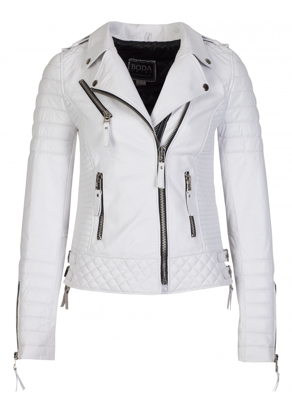 Kay michaels pure white womens quilted biker