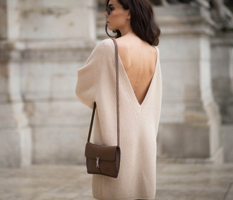 vouge indie clothes jumper knit hipster boho autumn/winter low back v neck sweet classy beige beige sweater cozy sweater fall outfits snow wintery style beige dress low back dress v neck dress deep back fall sweater sweater weather pumpkin sweater knitwear