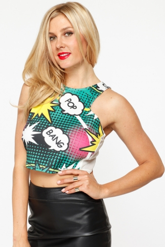 Comic Print Mesh Contrast Crop Top @ Cicihot Top Shirt Clothing Online Store: Dress Shirt,Sexy Womens Shirt,T Shirts,Corset Dress,White T Shirt,Girl T Shirt,Short sleeve top,Sexy Shirts