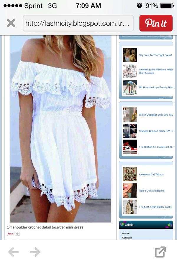 dress white dress lace trim