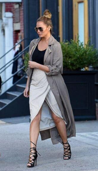 skirt slit skirt wrap skirt chrissy teigen sandals coat trench coat