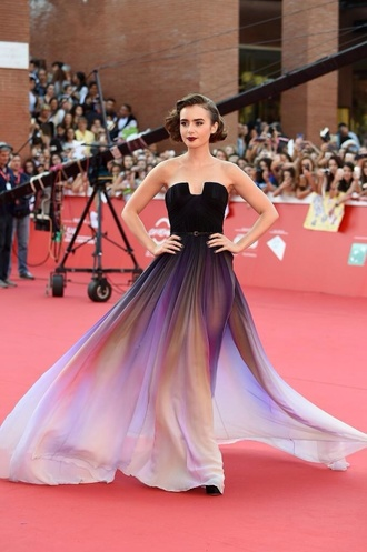 dress prom dress red carpet dress haute couture evening dress evening dresses lily collins lilac dress