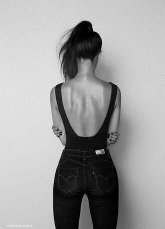 top black tumblr backless bodysuit singlet leotard sexy jeans