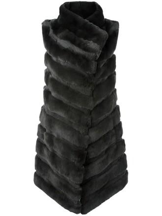 jacket sleeveless fur women silk grey