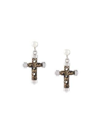 cross earrings metallic jewels