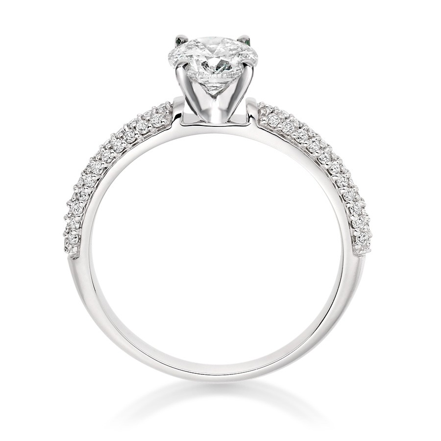 Round Cut 0.78 Carat Side Stones Engagement Ring in Platinum - Preset - Engagement Rings - Vashi.com