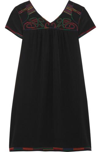 dress mini dress mini embroidered silk black