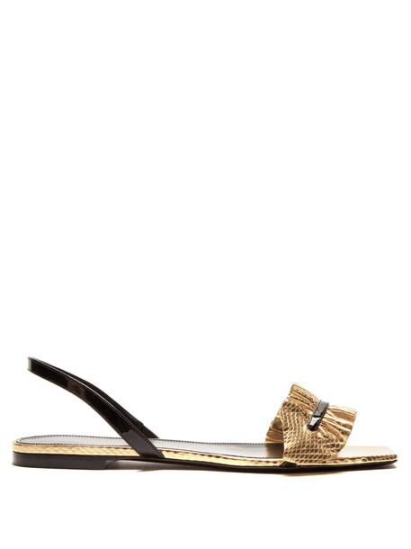Saint Laurent ruffle sandals gold black shoes