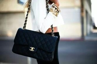 bag chanel top shirt white a little bit of white amazing stylish lovely gold jewels tight black jeans black and white vintage-inspired denim jacket chanel bag celebrity style black replica