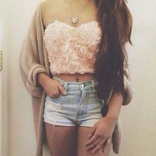 blouse roses sweater tank top