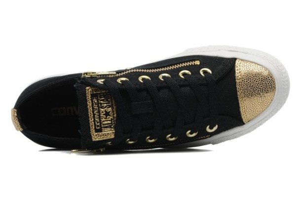 black and gold converse shoes