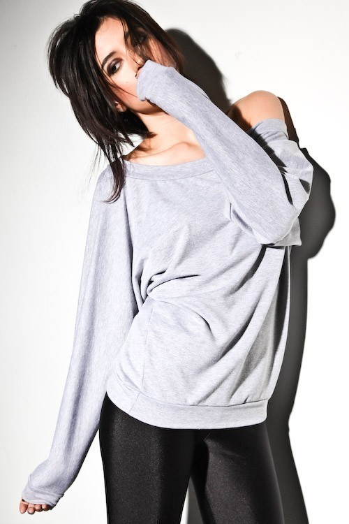 Oversized dolman sweater off shoulder