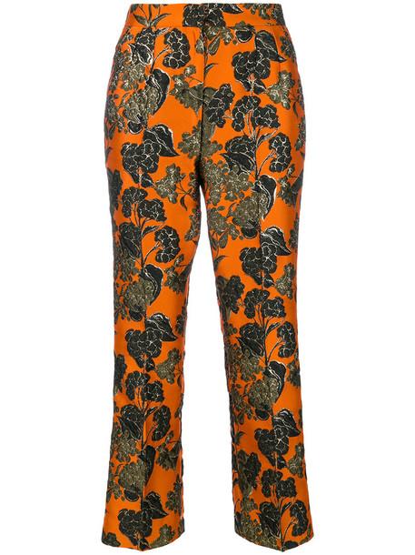women runway jacquard silk yellow orange pants