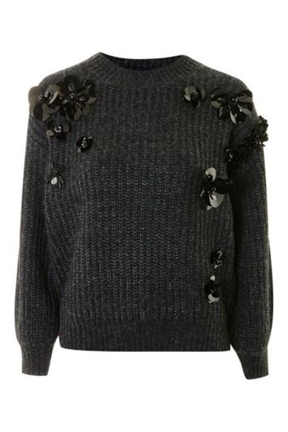 jumper embellished charcoal sweater