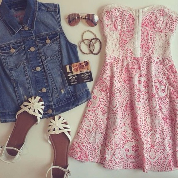 denim shoes pink white denim vest dress cocktail dresses short party dresses short sunglasses