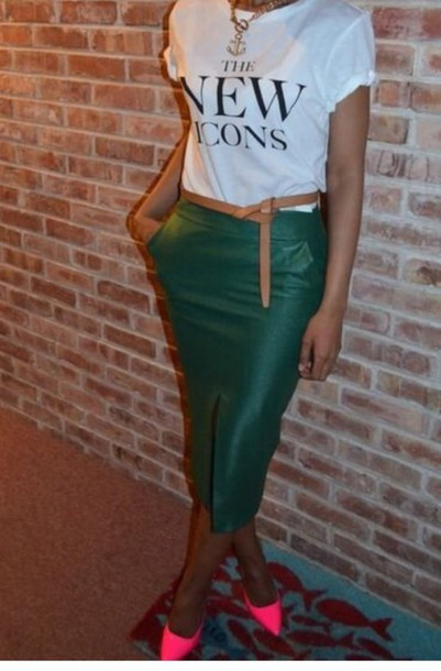 Skirt: faux leather, pencil skirt, emerald green - Wheretoget