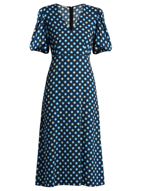 c51b0e6c750ab MIU MIU Star-print V-neck crepe midi dress in blue / multi - Wheretoget