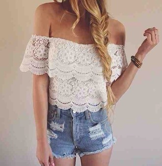 top lace lacy boho bohemian ethnic aztec native american layers layered white cream festival style fashion sleeves strapless cute tumblr gypsy