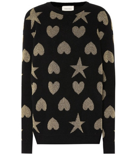 Gucci Hearts and stars wool-blend sweater in black