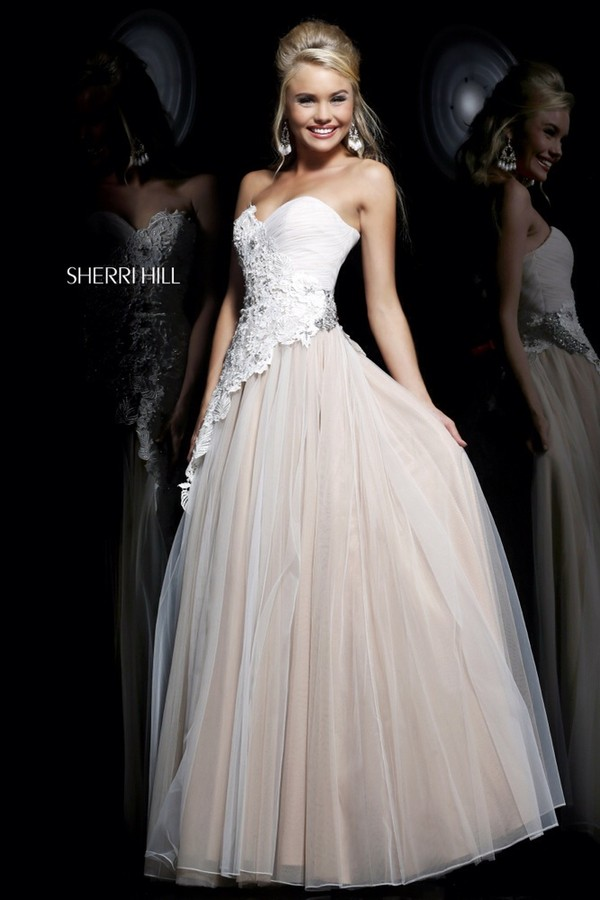 dress white dress beautiful sherri hill prom dress