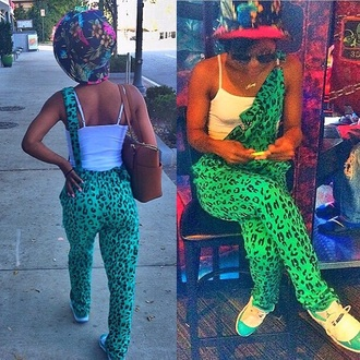 jumpsuit cheetah print overalls green black
