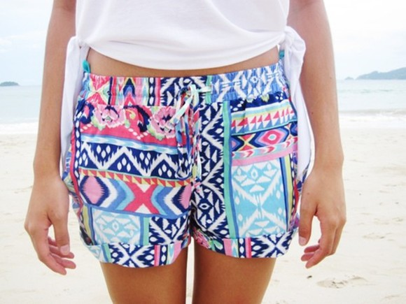 pattern hipster short shorts colorful native hippie exercise shorts gymspo gym shorts ok tumblr girl