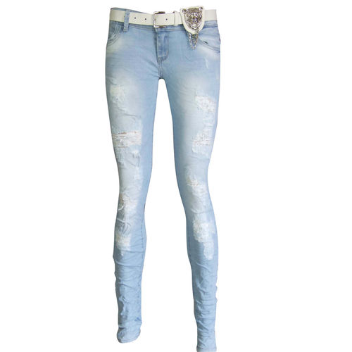 NEW WOMENS STRETCH SKINNY FIT RIPPED DENIM BLUE LADIES JEANS DISTRESSED 6 - 16 | Amazing Shoes UK