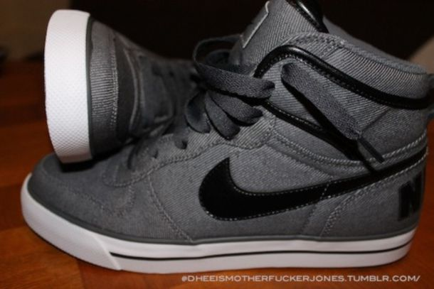 shoes nike gray black high tops high top hightops